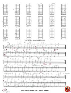 """Hello Pinterest!  I have finished all 3 pages for """"Tears In Heaven"""" by Eric Clapton.  It is a great addition to my ukulele tabs archive.  Let me know if you would like a free skype review:   www.jeffrey-thomas.com"""