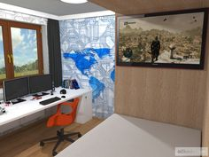 Dětský pokoj pro malého technika – RD Moravičany   očkodesign Desk, Furniture, Home Decor, Desktop, Decoration Home, Room Decor, Table Desk, Home Furnishings, Office Desk