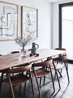 Thonet table from Anibou with dining chairs from Great Dane The Theory of Everything and She Understood Herself artworks by Christine Spangsberg from Jerico Contemporary Modern dining room design artwork diningroom Dining Table Design, Dining Room Table, Dining Set, Dining Chairs, Dining Rooms, Small Dining, Room Chairs, Side Chairs, Rooms Ideas