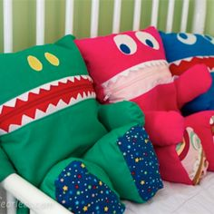 Each of these helpful and huggable creatures lives on a small bed, and has quite an appetite for clean-but-not-squeeky pajamas.