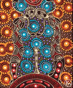 Dreamtime Sisters swaying above a sacred site. Aboriginal art of Central Australia.