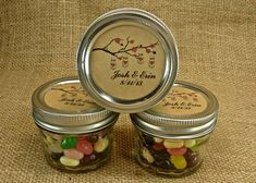 Mason Jar Wedding Favors - Personalized - 20 Four Ounce Quilted Mason Jars - Mason Jars on a Cherry Branch Design on Etsy, $47.75