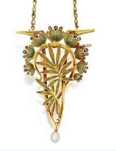 ART NOUVEAU GOLD, PLATINUM, ENAMEL, DIAMOND AND PEARL BROOCH/PENDANT-NECKLACE, LOUIS AUCOC, FRANCE, CIRCA 1901-1902.  Designed as lotus flowers and leaves applied with green enamel, accented by small rose-cut diamonds, supporting a pearl pendant, together with a gold link necklace, length 19 inches, maker's mark for Aucoc, French assay marks.