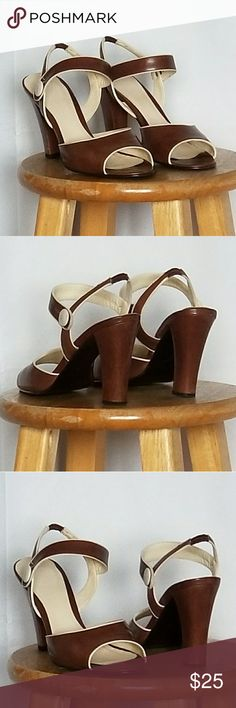 Classy, this pair is for work or play❣ Neutral colors, brown and cream; Shoes Heels