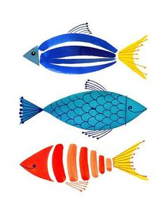 Summer Fish Trio Art Print by Margaret Berg at Art.com
