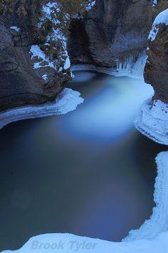 The Eramosa River thunders through a series of glacial potholes in the village of Everton, Ontario, Canada