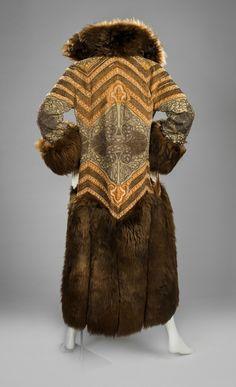 Paul Poiret (French, 1879-1944), Coat, 1922. Silk velvet, fur, metallic silk embroidery, and faux pearls. RISD Museum, Providence, RI.
