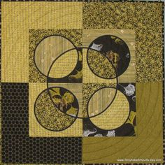 Art Quilt Converging Circles and Squares by TerryAskeArtQuilts