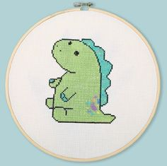 Pickle The Dinosaur (Cross Stitch Pattern) Cross Stitch Kits, Cross Stitch Designs, Cross Stitch Patterns, Crochet Patterns, Cross Stitching, Cross Stitch Embroidery, Create This Book, Letter Size Paper, Friendship Bracelet Patterns
