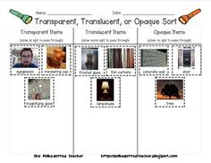 Here's a sorting activity where students determine whether objects are transparent, translucent, or opaque.