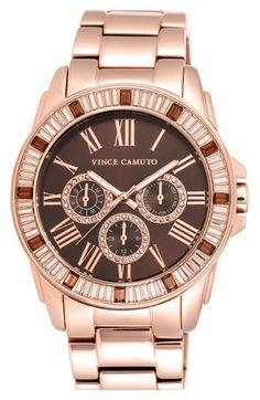 Vince Camuto Crystal Bezel Multifunction Bracelet Watch, 51mm