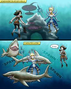 Guild Wars 2: AFK Sharks by randophera