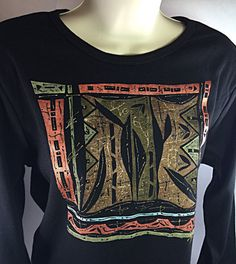 Hand Painted T Shirt - XL Long Sleeve Black T Shirt for Women - Boho Shirt - Graphic Tee - Painted Shirt - Bohemian Chic Clothing - Tdc109