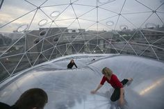 """""""Observatory/Air-Port-City"""" by Tomás Saraceno   """"Tomás Saraceno's installations...are utopian and invite the viewer to play a part in their impact on a particular space, as they reach up to the sky and down to the ground."""" (Nationalgalerie im Hamburger Bahnhof)"""