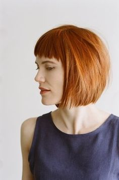 Fine hair, textured and short fringe with a rich colour.