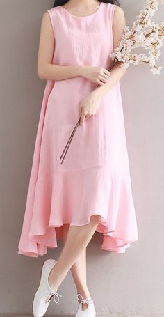Women loose fitting over plus size baby pink linen dress long maxi tunic chic – Linen Dresses For Women Baggy Dresses, Plus Size Maxi Dresses, Linen Dresses, Trendy Dresses, Cute Dresses, Casual Dresses, Fashion Dresses, Dress Outfits, 50 Fashion