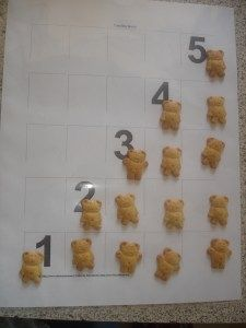Printable counting board used with Teddy Grahams to count to five - preschool numbers, counting