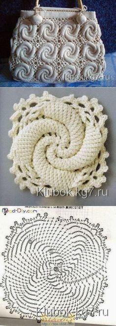 New Crochet Granny Square Purse Pattern Yarns Ideas Bag Crochet, Crochet Handbags, Crochet Purses, Crochet Chart, Crochet Granny, Irish Crochet, Crochet Lace, Spiral Crochet, Freeform Crochet