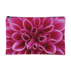 Pink Dahlia Flower Accessory Pouch  Small 8 x 5 accessory pouch Large 12 x 8 accessory pouch A strong canvas-like exterior 50/50 poly-cotton black interior lining Machine washable Design is printed on both sides  Color may differ slightly from image on screen. Alternate products may appear different hues depending on Fabric. Not all computer monitors and phone resolutions are made equal.  Pouch is perfect for keeping small to medium items beauty/pencil/money/accessory bag .