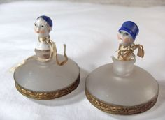 fab. V-day gift for the Flapper/Downton obsessed...; Art Deco era antique Pair petite Perfume Bottles,  'Flapper Girl' Frosted Glass w/ hand painted porcelain Figural toppers, gilt filigree decorative band... Germany