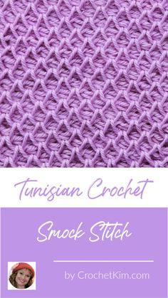 Tunisian Smock Stitch Crochet Stitch Pattern - Free Crochet Patterns from CrochetKim Stitch Crochet, Bag Crochet, Crochet Crafts, Free Crochet, Crochet Ideas, Crochet Stitch Tutorial, Crochet Granny, Crotchet, Tunisian Crochet Patterns
