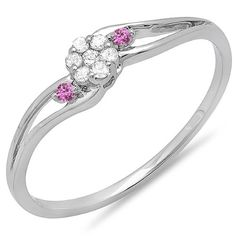 18K White Gold Round White Diamond and Pink Sapphire Ladies Bridal Swirl Split Shank Cluster Promise Ring * Unbelievable  item right here! : Promise Rings Jewelry