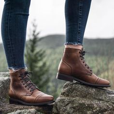 Women's Natural Captain Lace-Up Boot - Thursday Boot Company Combat Boot Outfits, Brown Combat Boots, Brown Oxfords, Laced Boots, Leather Lace Up Boots, Leather Gloves, Oxford Boots, Oxford Brogues, Trail Shoes