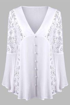 V Neck Lace Insert Flare Sleeve Crinkle Blouse - White - Xl Blouse Styles, Blouse Designs, White Lace Blouse, Lace Tunic, Fashion Sale, Mens Fashion, Lace Insert, Sammy Dress, Mode Outfits
