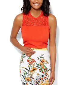 Another great find on #zulily! Red Silk Lace-Yoke Tank by New York & Company #zulilyfinds