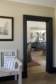 Black & White - Junk Shop Furniture - Hallway Ideas (houseandgarden.co.uk) ****love the wall color, beige?****