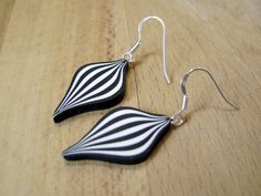 Citrus Circus, black and white polymer clay and sterling silver earrings