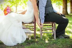 wedding photo idea: sit back to back so the groom can't see his bride
