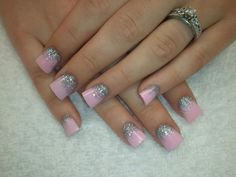 pink barbie acrylic nail designs