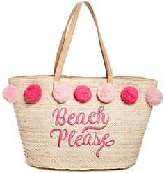 Straw Pom Tote at Guess Straw Beach Tote, Straw Tote, Reusable Tote Bags, Shoulder Bag, Handbags, Vacation, Purses, Beach Holiday, Suitcases