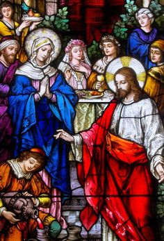 Day 16 - Mary Mother of Jesus, Part II - Wedding at Cana - Artist Unknown Catholic Pictures, Religious Pictures, Stained Glass Church, Stained Glass Art, Catholic Art, Religious Art, Jesus Art, Art Base, Blessed Mother