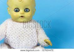 vintage doll, dolly, puppet, old toy, reto, blue, background, infant, infantile, childish