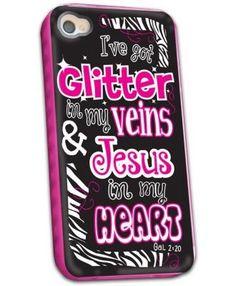 Glitter in My Veins Jesus in My Heart - iPhone Case