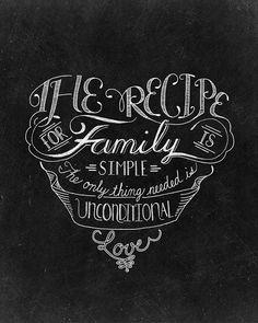 The Recipe For Family - 8 x 10 Print - Hand Lettered Print- Chalk Art- Chalkboard Art - Digital Print