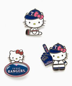 This Texas Rangers Hello Kitty Pin Set is perfect! #zulilyfinds