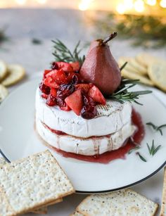 Caramelized Winter Fruit Stuffed Brie Cheese with a Pinot Poached Pear.} - How Sweet Eats Yummy Appetizers, Appetizer Recipes, Party Appetizers, Best Christmas Recipes, Christmas Foods, Christmas Cakes, Pear Recipes, Detox Recipes, Yummy Recipes