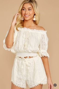 Forever After Ivory Eyelet Two Piece Set Crop Top Und Shorts, Crop Tops, Two Piece Sets, Two Pieces, How To Look Classy, Lace Trim, Off The Shoulder, Summer Outfits, Feminine
