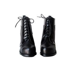 Lace Up Heeled Ankle Boots (405 BAM) ❤ liked on Polyvore featuring shoes, boots, ankle booties, heels, sapatos, lace up booties, laced ankle boots, lace-up wooden heel bootie, short boots and heeled boots