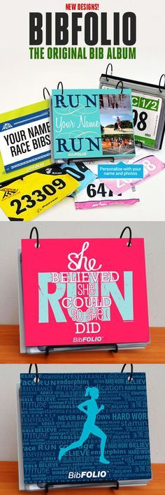 These are race bib albums with dozens of BibFOLIO designs for you to choose from.