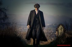 Peaky Blinders - Pinstripe 3 piece, pocket watch, end on end or nail's head/bird's eye 8 division cap (fabric to bill edge), mid-shin overcoat.