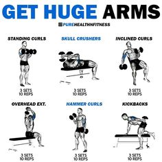 Arm Day Workout, Bicep And Tricep Workout, Sixpack Workout, Push Workout, Gym Workout Chart, Gym Workout Videos, Gym Workout For Beginners, Boxing Workout, Dumbell Workout For Arms