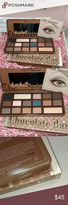 Too Faced Semi sweet chocolate bar palette Authentic Too Faced Chocolate bear palette. Purchased directly from Too Faced cosmetics. Brand new with box never tested or used. I got a great deal and am passing on the savings. Recipient available Sephora Makeup Eyeshadow
