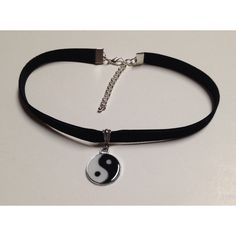 "black velvet yin yang choker necklace 90s grunge 12"" trendy style... ($6.75) ❤ liked on Polyvore featuring jewelry, necklaces, choker, accessories, black, lobster clasp charms, ribbon jewelry, charm pendant, pendant charms and black jet jewelry"