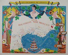 Les Vignobles De France - Vins De Roussillon Midi Provence original vintage poster by Hetreau from 1936 France