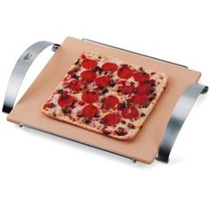 Weber's heavy-duty pizza stone for the grill comes with a brushed stainless steel holder for easy lifting on and off the grill.