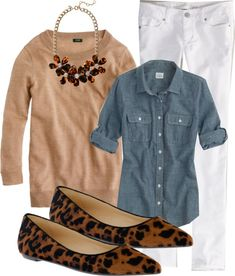 Chambray shirt, tan sweater, white pants or jeans, leopard flats